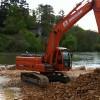 Réalisation d'une plateforme en rivière afin de permettre l'accès aux travaux de renouvellement des tabliers du pont SNCF